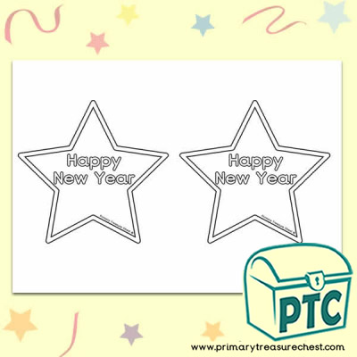 'Happy New Year' Stars Activity Sheet - No Colour