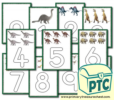 Dinosaur Themed Number Playdough Mats -  0 to 10