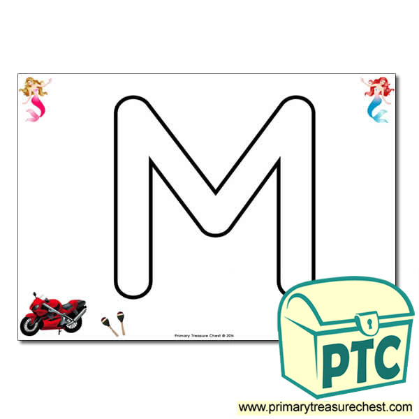 'M' Uppercase Bubble Letter A4 poster with high quality realistic images