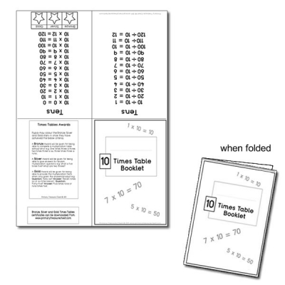 Ten Times Table Booklet
