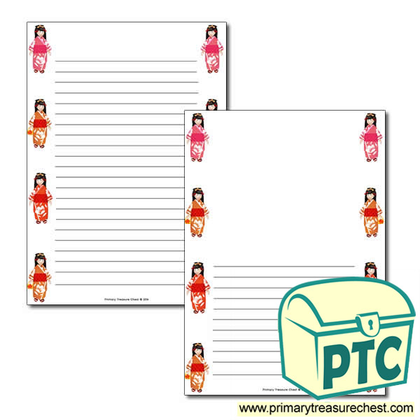 Japanese Girl Page Border/Writing Frame (narrow lines)