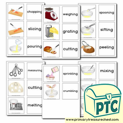 Cooking Equipment Matching Cards - Actions Ending in 'ing'
