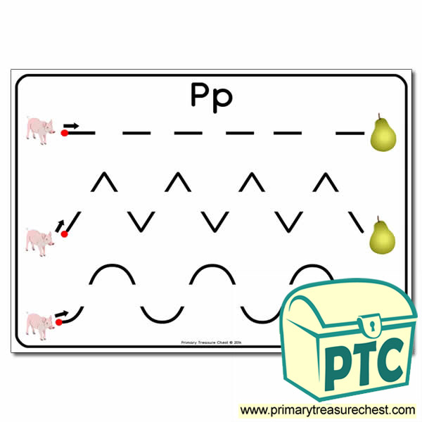 'Pp' Themed Pre-Writing Patterns Activity Sheet