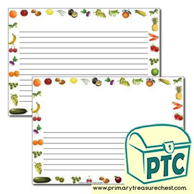 Fruit and Vegetables themed Landscape Page Border /Writing Frame (narrow lines)