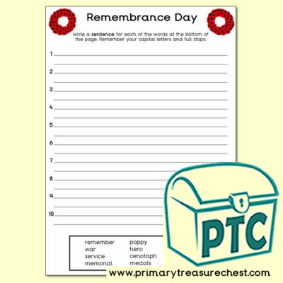 Remembrance Day Sentence Worksheet