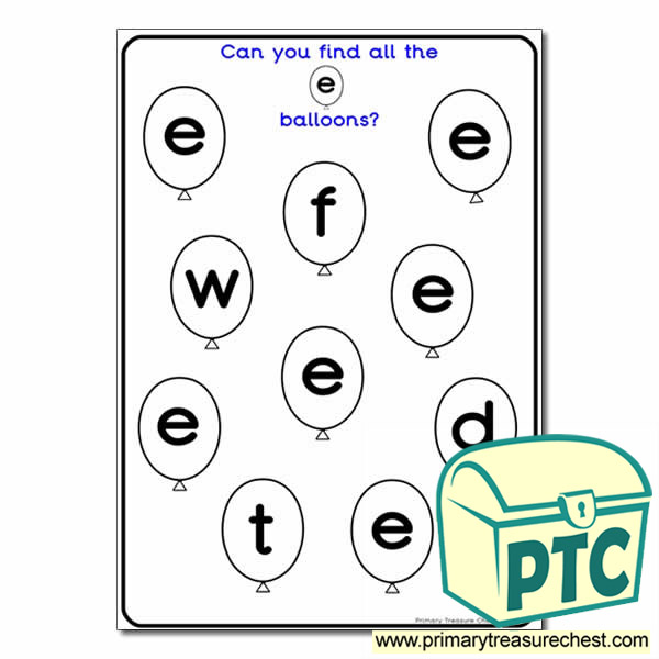 Letter 'e' Balloon Activity Sheet