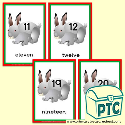 Rabbit Themed Number Line 11 to 20