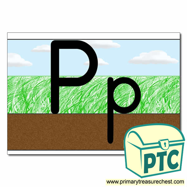 Letter 'Pp' Ground-Grass-Sky Letter Formation Sheet