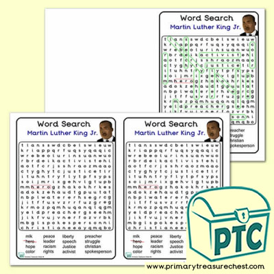 Martin Luther King Jr.  Themed Word Search