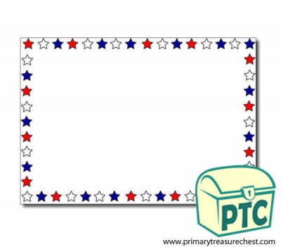 Red, White and Blue Stars Landscape Page Border/Writing Frame (no lines)