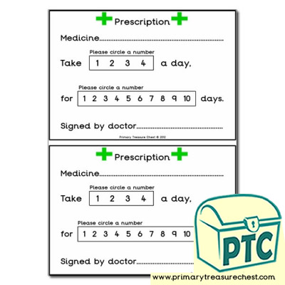 Role Play Doctors' Surgery Patient Prescriptions Worksheet