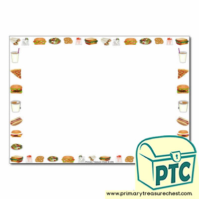 Fast Food Takeaway Themed Landscape Page Border/Writing Frame (no lines)