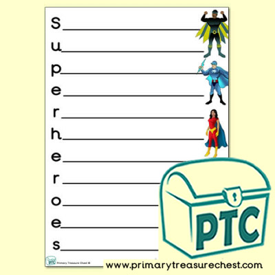 Superheroes Acrostic Poem Sheet