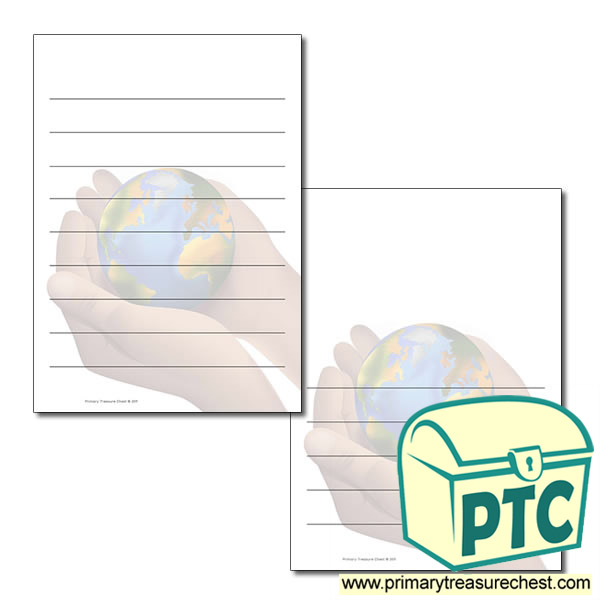 Hand Holding World Themed Writing Frame /Page Border (wide lines)