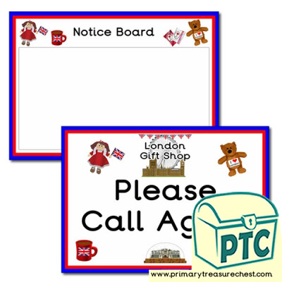 London Gift Shop Notice Board and Call Again Signs