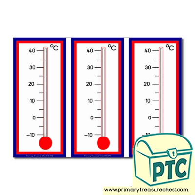 Thermometer themed flashcards, 3 per A4 sheet. Add your own temperature.