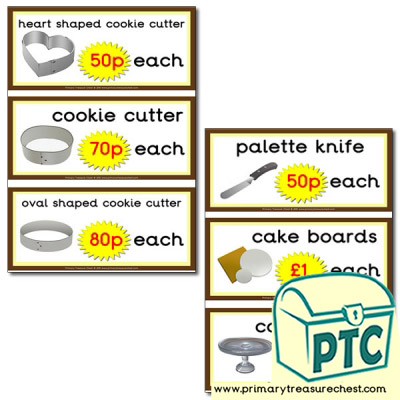 Role Play Cake Shop equipment prices 21p to £99