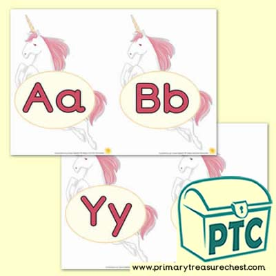 Unicorn Theme Upper & Lower Case Alphabet
