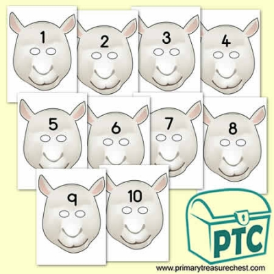 sheep Role Play Masks Numbered 1-10