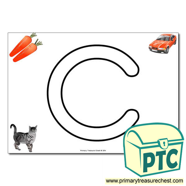 'C ' Uppercase Bubble Letter A4 poster with high quality realistic images