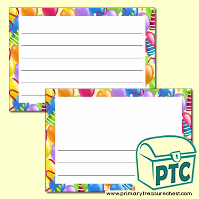 Balloon Themed Writing Frames (Wide Lines) - Landscape