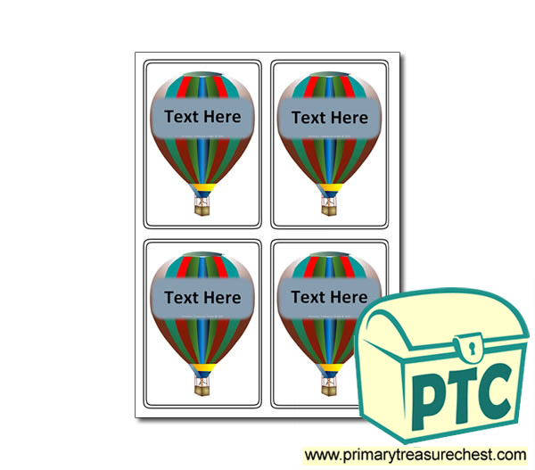 Hot Air Balloon Themed Registration Name Cards