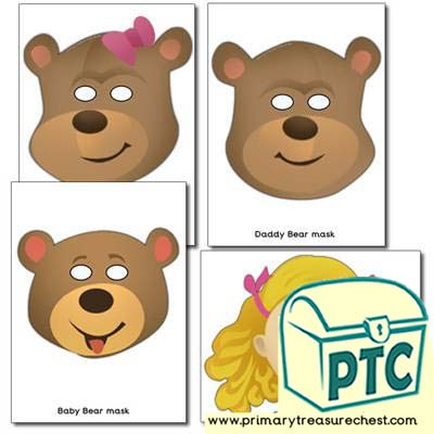 Goldilocks and the Three  Bears Role Play Masks