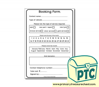 Mechanics Garage Role Play Booking Form Worksheet