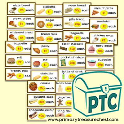 Bakery Shop Prices Flashcards (21p - £99)