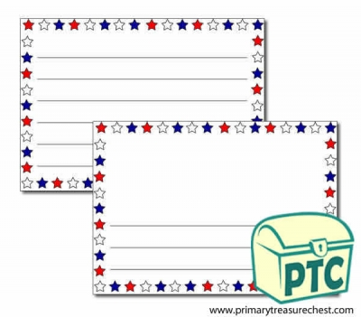 Red, White and Blue Stars Landscape Page Border/Writing Frame (wide lines)