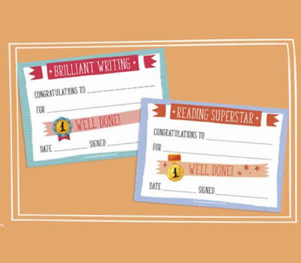 Reading & Writing Reward Certificates