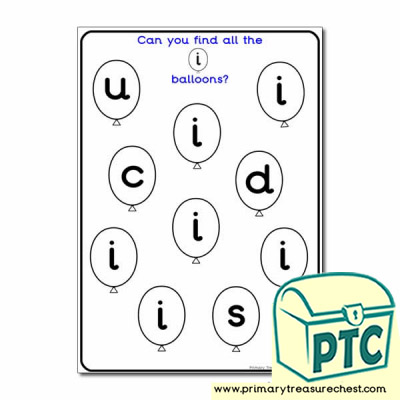Letter 'i' Balloon Activity Sheet