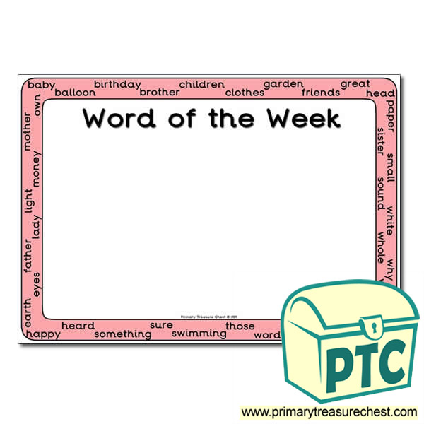 Copy of HF Words (Year 5) - Word of the Week Poster