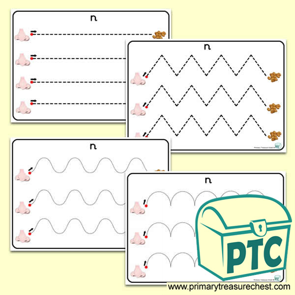 'Nn' Themed Pre-Writing Patterns Activity Sheets