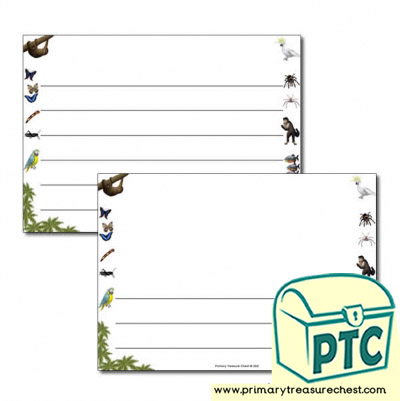 Rainforest themed Landscape Page Border/ Writing Frames (wide lines)