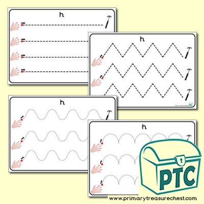 'Hh Themed Pre-Writing Patterns Activity Sheets