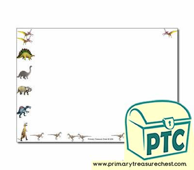 Dinosaur Themed Landscape Page Borders/Writing Frames (no lines)