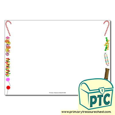 Sweets/Candy Themed Landscape Page Border/Writing Frame (no lines)