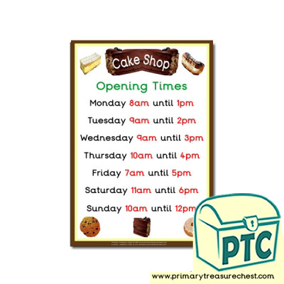 Role Play Cake Shop Opening Times Poster
