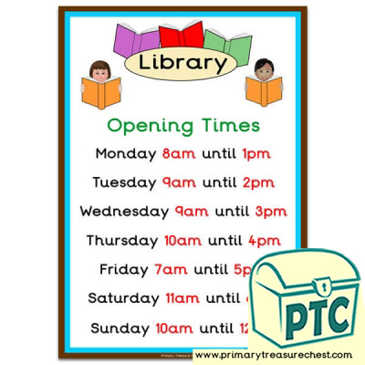 Library Role Play Opening Times (O'clock)
