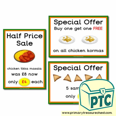 Indian Restaurant Role Play Special Offers  (21p-£99)