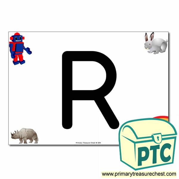 'R' Uppercase Letter A4 poster with high quality realistic images