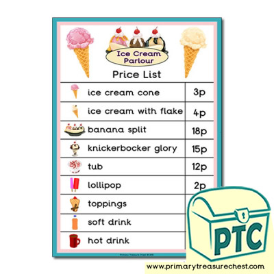 Ice Cream Parlour Price List - 1-20p