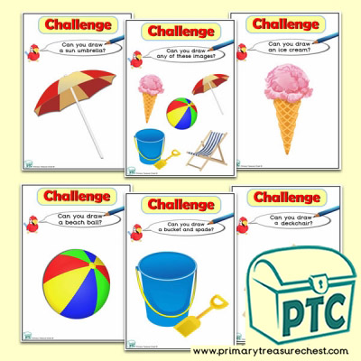 Seaside Themed ICT Challenge Cards