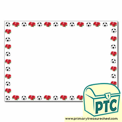Flowers & Football Landscape Page Border/Writing Frame (no lines)