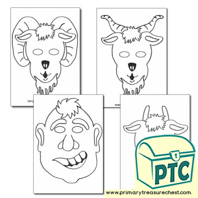 Three Billy Goats Gruff Colouring in Masks