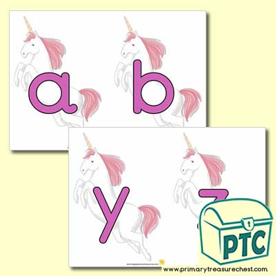 Lower case Unicorns Alphabet Cards - Serenity the Sweet Dreams Resources