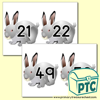 Rabbit Themed Number Line 21 to 50