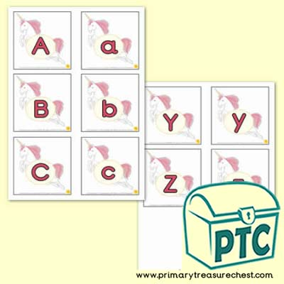 Unicorn Upper & Lower Case Alphabet Matching Cards