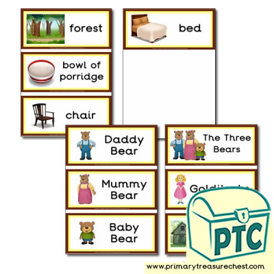 Flashcards- Goldilocks and The Three Bears Vocabulary